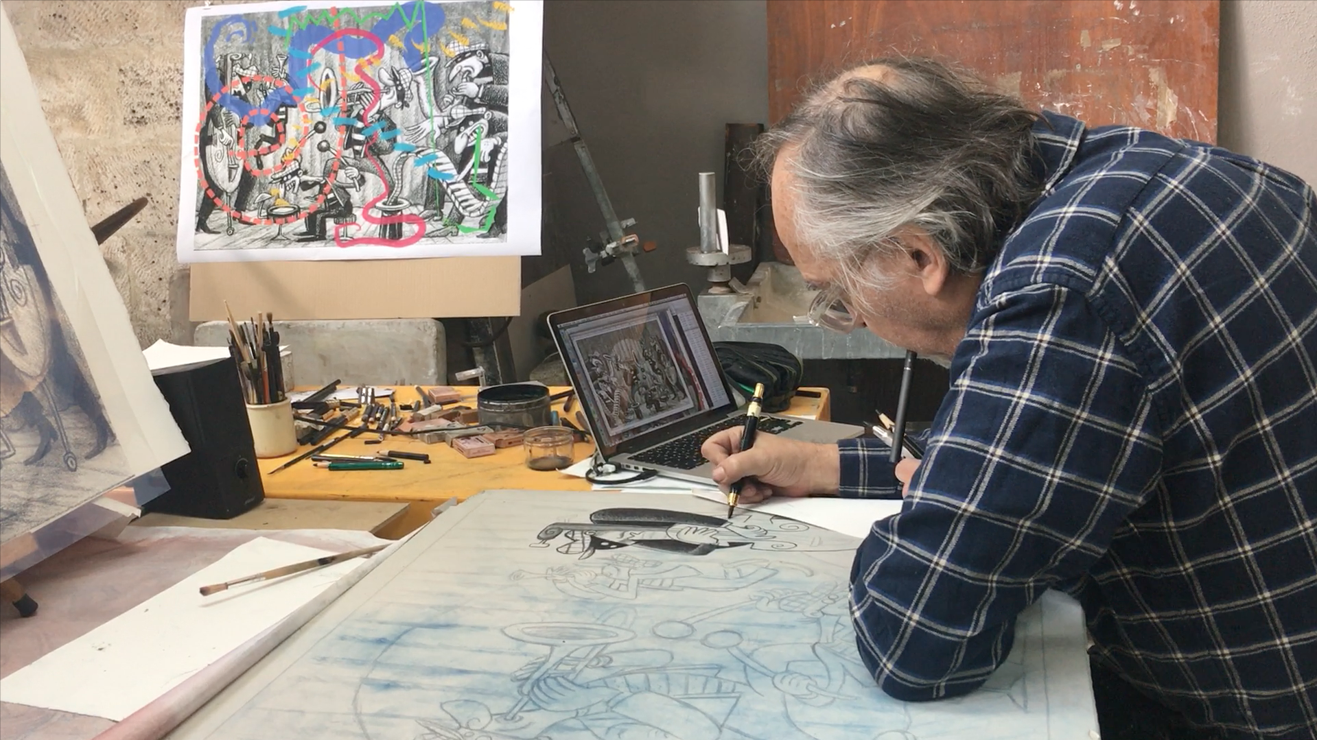 Video - Art Spiegelman dessinant sur la pierre pour la lithographie Silent Six