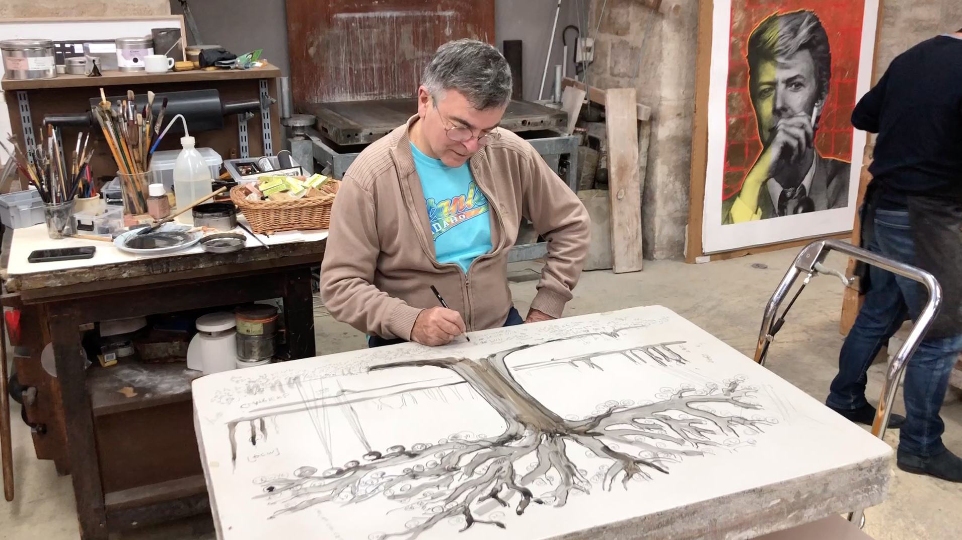 Video - 18 novembre 2019,  Fabrice Hyber commence sa lithographie